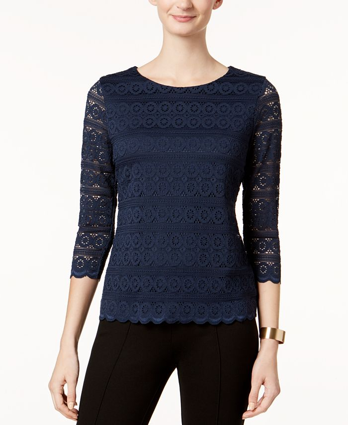 Charter Club - Petite Lace 3/4-Sleeve Top