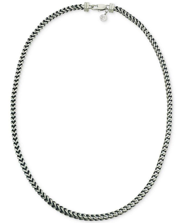 Esquire Men's Jewelry - Link Necklace in Stainless Steel and Black Ion-Plate,