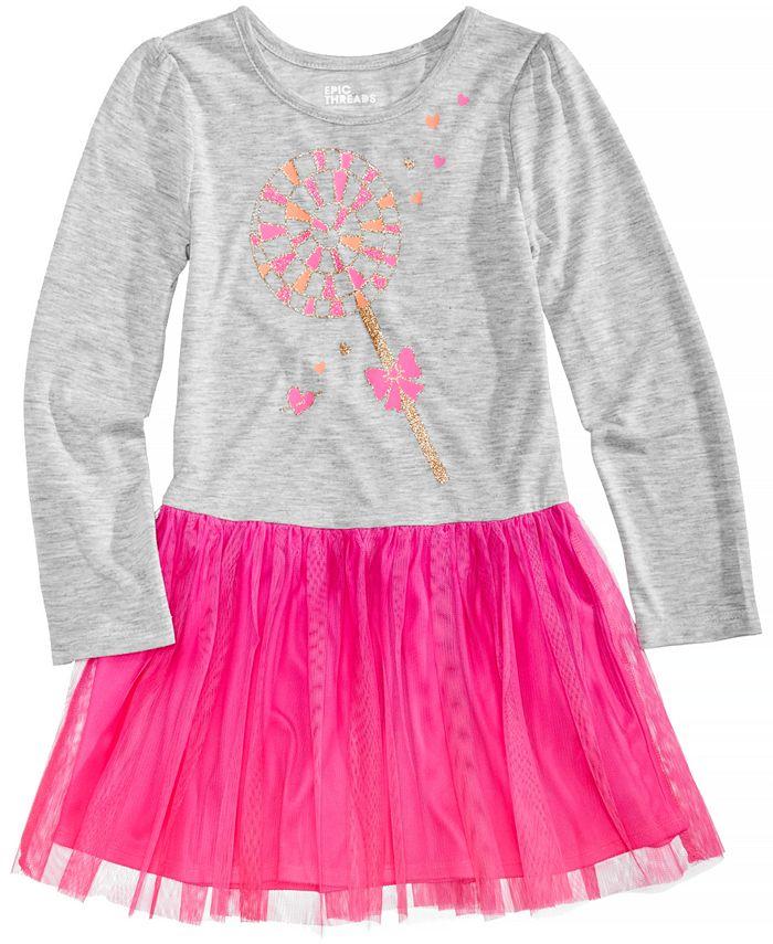 Epic Threads - Long-Sleeve Lollipop-Print Tutu Dress, Little Girls (2-6X)