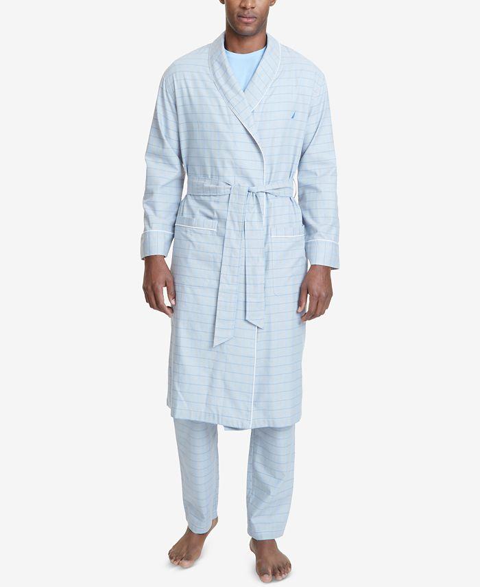Nautica - Men's Windowpane Plaid Cotton Robe