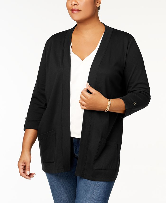 Karen Scott - Plus Size Cotton Cozy Cardigan