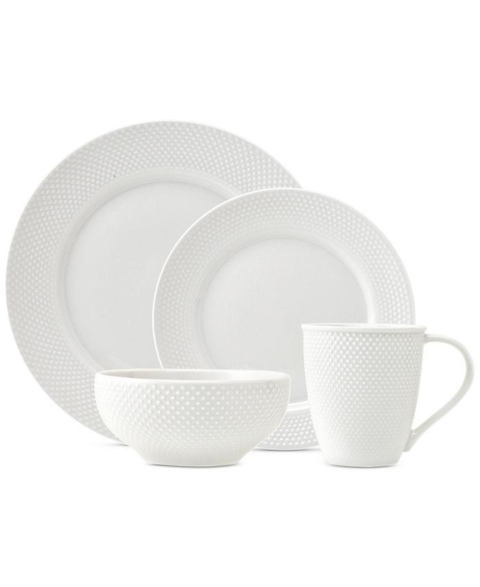 Godinger - Pique 16-Pc. White Embossed Dinnerware Set, Service for 4