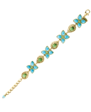 2028 Bracelet, Blue Zircon and Green Crystal
