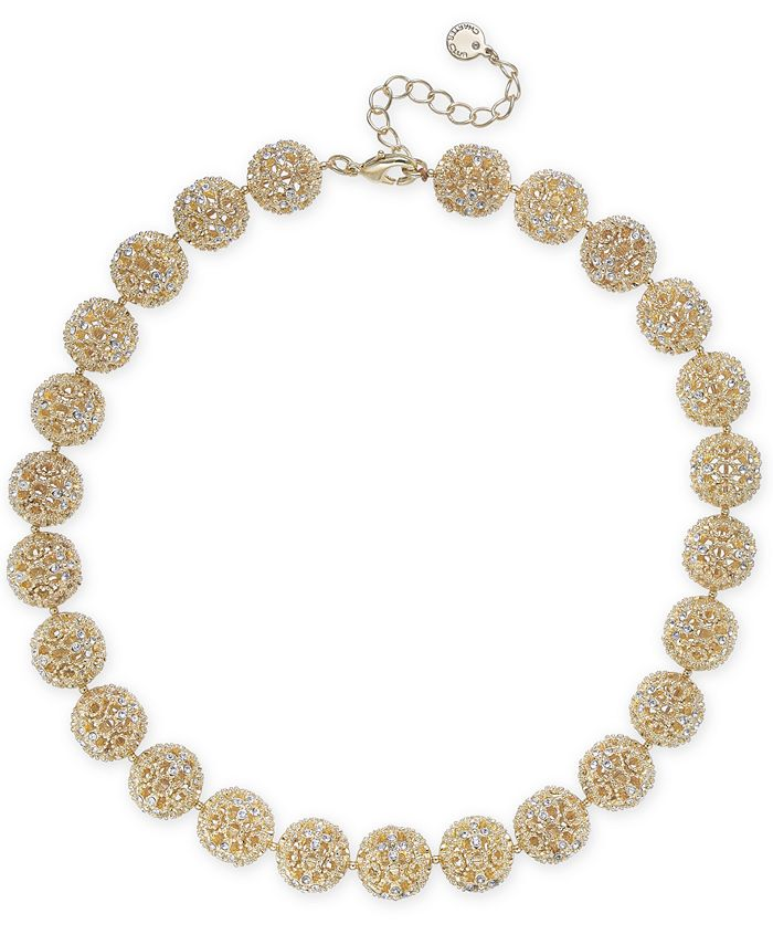 "Charter Club - Gold-Tone Crystal Openwork Beaded Collar Necklace, 18"" + 2"" extender"