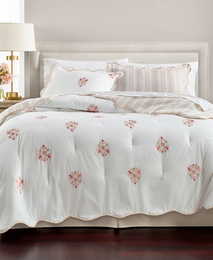 Martha Stewart Collection - Reversible Floral Scroll 8-Pc. King Comforter Set