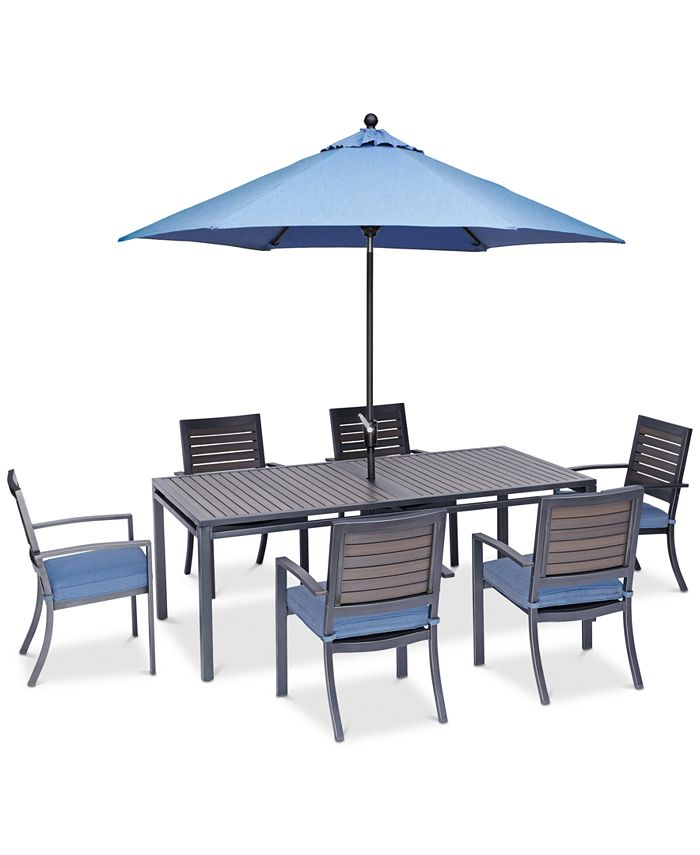 """Furniture - Harlough II Outdoor 7-Pc. Dining Set (84"""" x 42"""" Dining Table and 6 Dining Chairs) with Sunbrella® Cushions"""