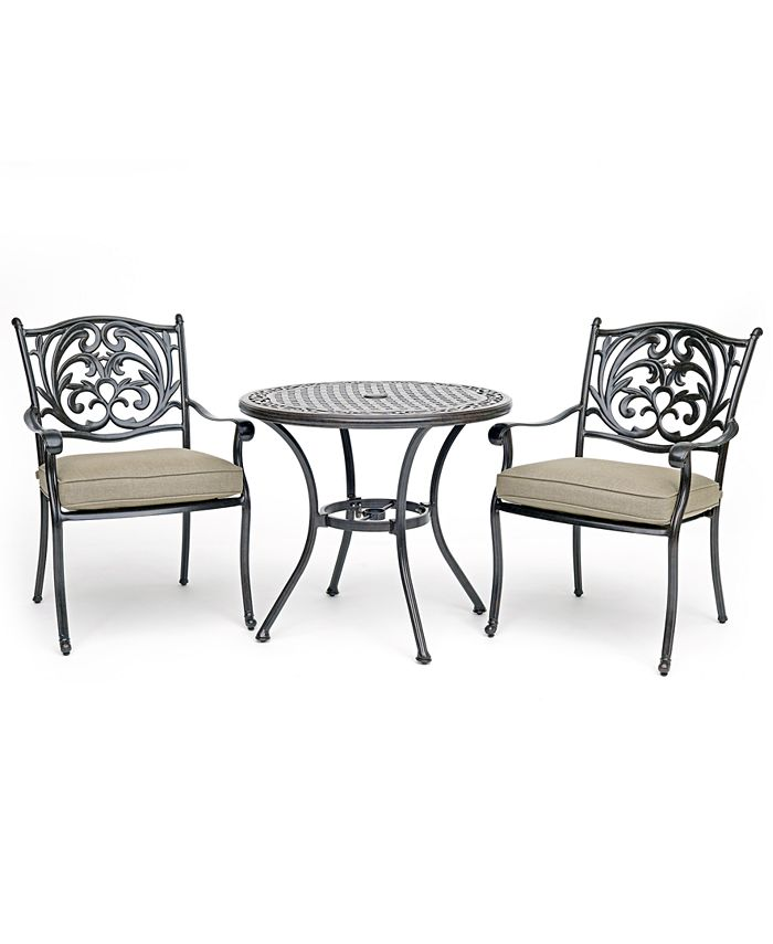 """Furniture - Chateau Outdoor Aluminum 3-Pc. Dining Set (32"""" Round Bistro Table & 2 Dining Chairs) with Sunbrella® Cushions"""