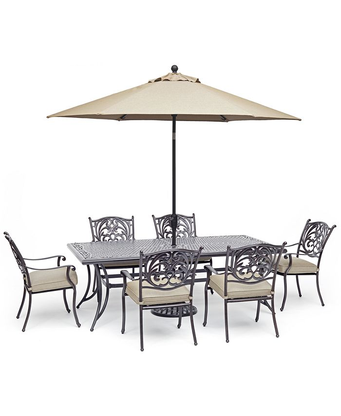 """Furniture - Chateau Outdoor Aluminum 7-Pc. Dining Set (84"""" X 42"""" Dining Table & 6 Dining Chairs) with Sunbrella® Cushions"""