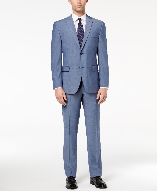 (86% OFF Deal) Men's Slim-Fit Performance Stretch Light Blue Suit Separates $49.99