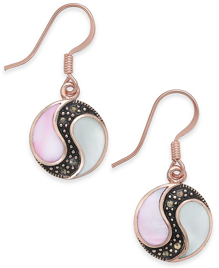 Macy's - Marcasite & Mother-of-Pearl Disc Drop Earrings in Rose Gold-Plate
