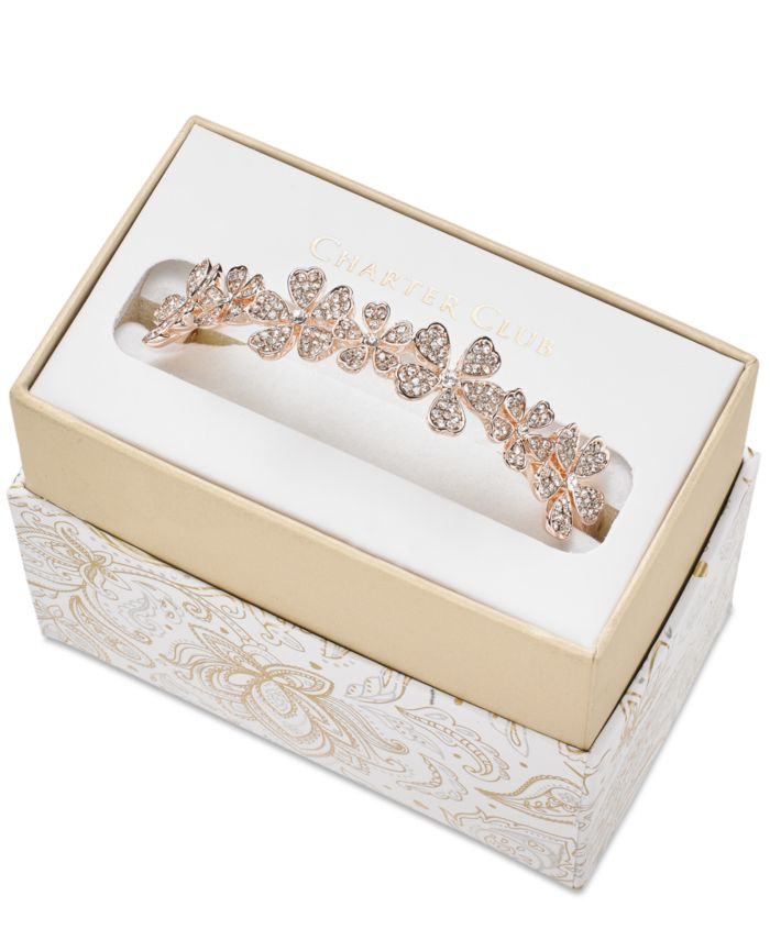Charter Club Rose Gold-Tone Crystal Flower Bangle Bracelet, Created for Macy's  & Reviews - Bracelets - Jewelry & Watches - Macy's