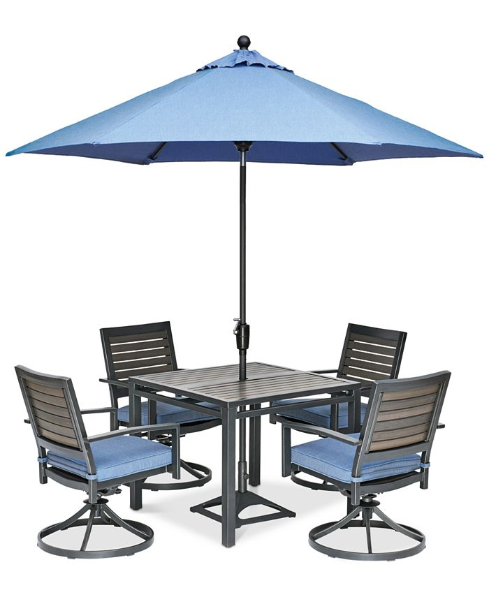 """Furniture - Harlough II Outdoor 5-Pc. Dining Set (36"""" Square Dining Table and 4 Swivel Rockers) with Sunbrella® Cushions"""