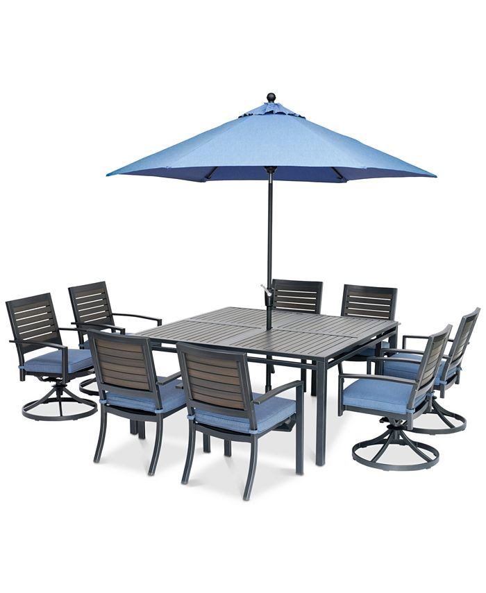 """Furniture - Harlough II Outdoor 9-Pc. Dining Set (62"""" Square Dining Table, 4 Dining Chairs and 4 Swivel Rockers) with Sunbrella® Cushions"""