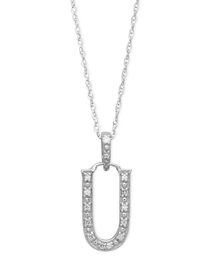 Macy's - 14k White Gold Necklace, Diamond Accent Letter U