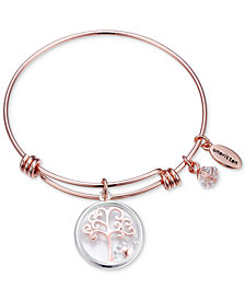 Unwritten Family Tree Glass Shaker Charm Adjustable Bangle Bracelet in Rose Gold-Tone Stainless Steel Silver Plated Charms