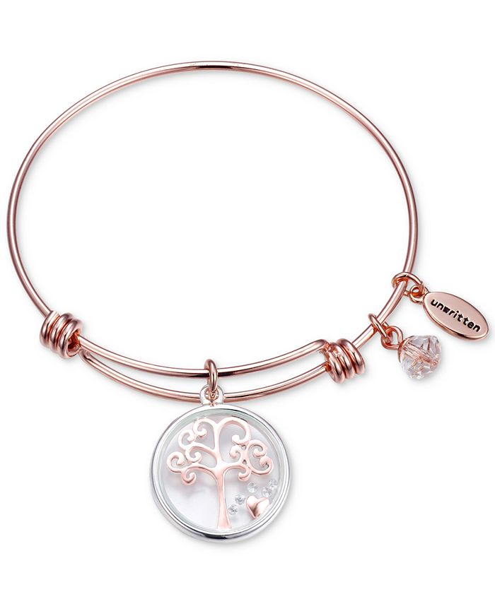 Unwritten - Family Tree Glass Shaker Charm Adjustable Bangle Bracelet in Rose Gold-Tone Stainless Steel