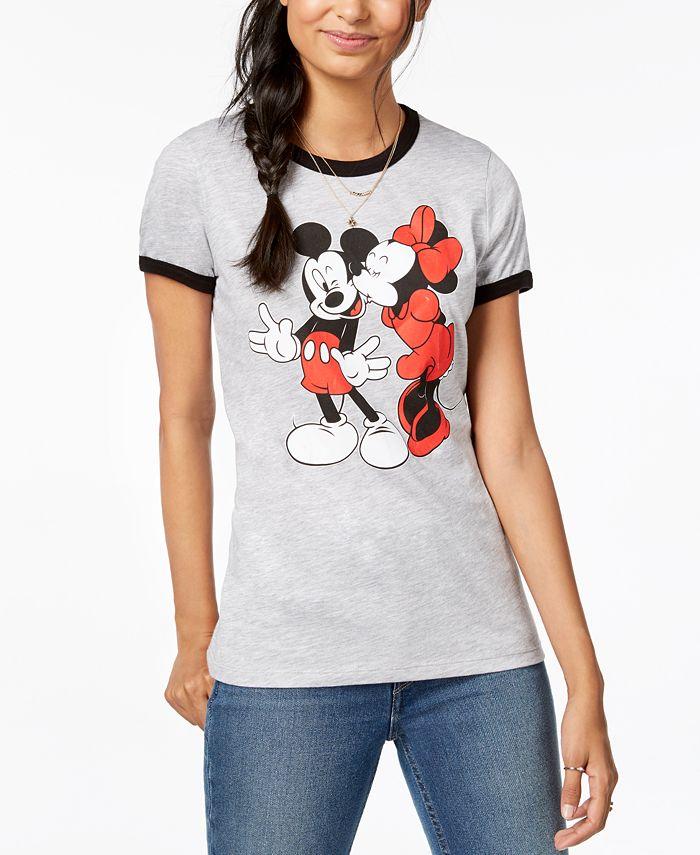 Disney - Juniors' Mickey & Minnie Graphic-Print T-Shirt