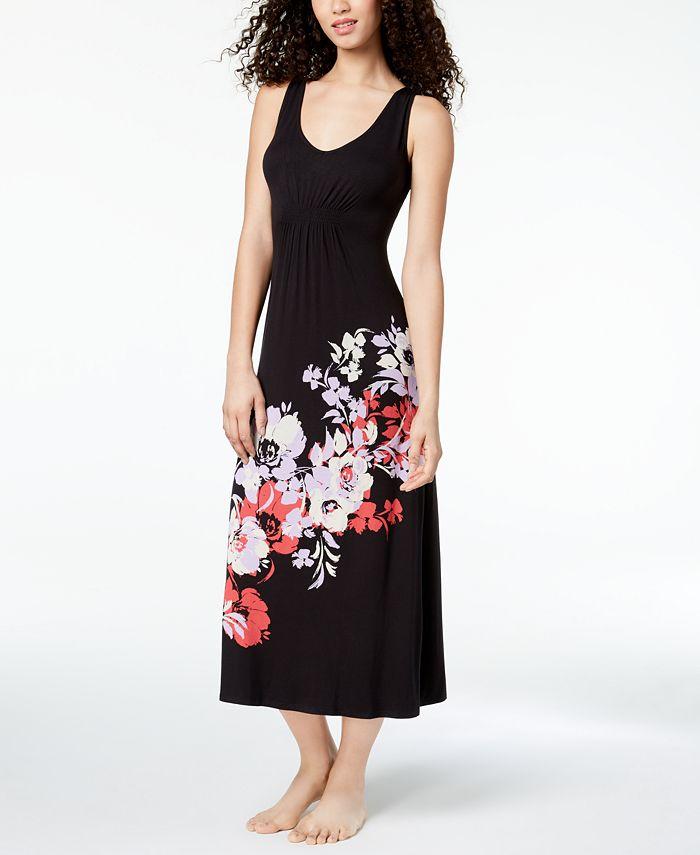Alfani - Floral-Graphic Gathered-Waist Nightgown