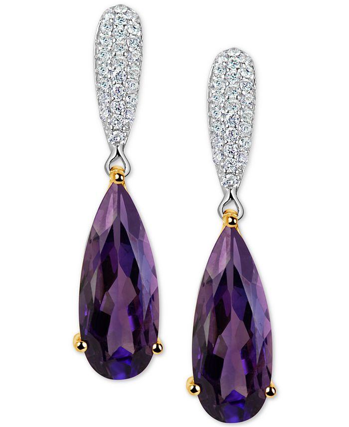 Macy's - Amethyst (5 ct. t.w.) & Diamond (1/4 ct. t.w.) Drop Earrings in 14k Gold & White Gold