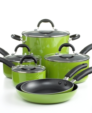 Martha Stewart Collection Nonstick Porcelain Enamel Cookware Set, 10 Piece Green