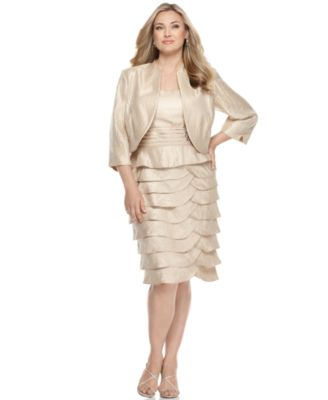 Jessica Howard Plus Size Dress and Jacket, Scallop Tiers