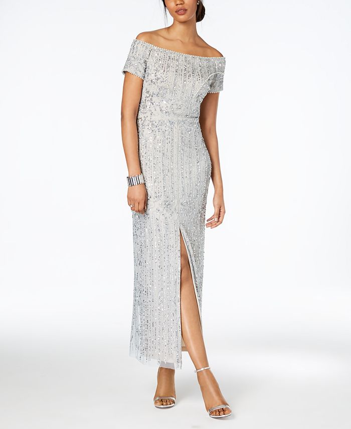 Adrianna Papell - Off-The-Shoulder Beaded Gown