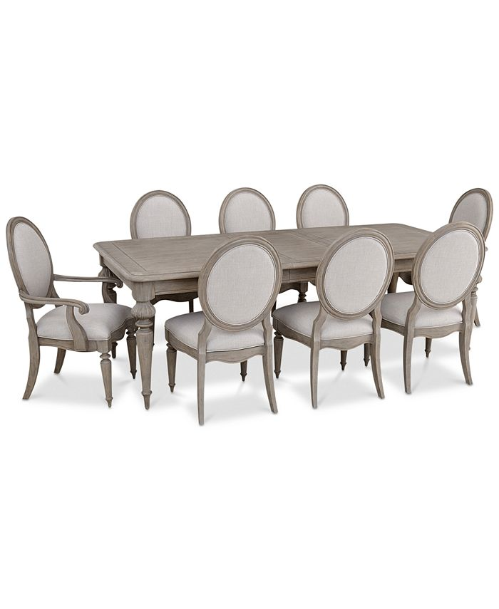 Furniture Elina Expandable Dining Furniture 9 Pc Set Dining Table 6 Upholstered Side Chairs 2 Upholstered Arm Chairs Created For Macy S Reviews Furniture Macy S