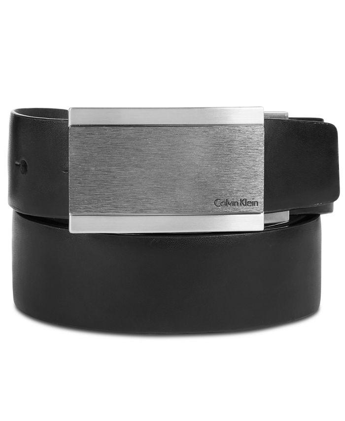 Calvin Klein - Men's Plaque Buckle Reversible Leather Belt