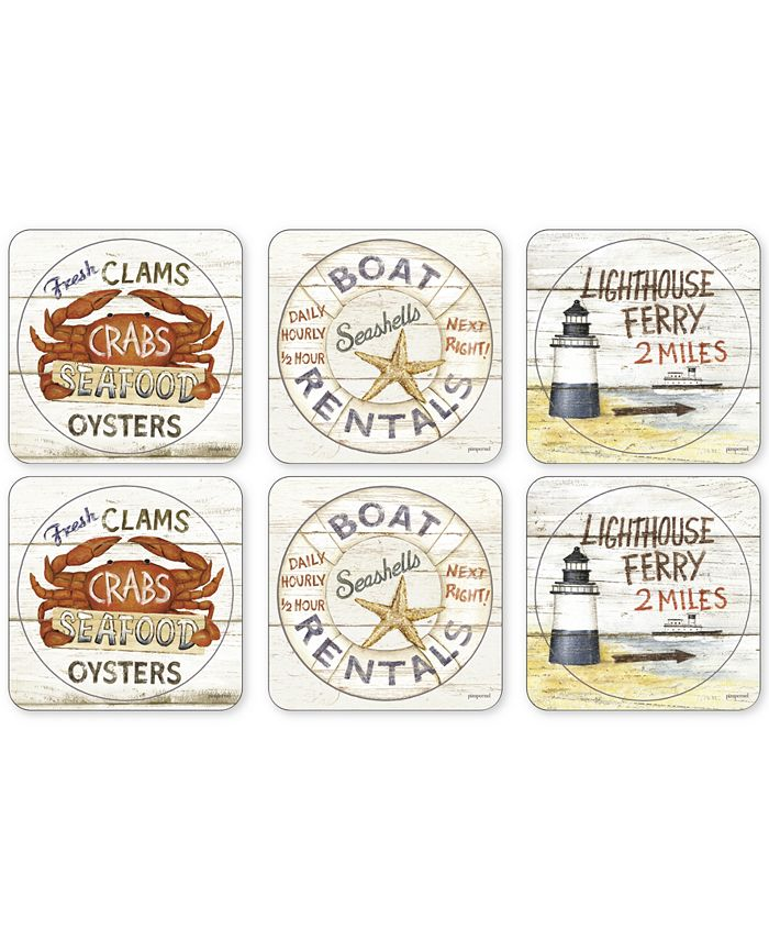 Portmeirion - Coastal Signs Set of 6 Coasters