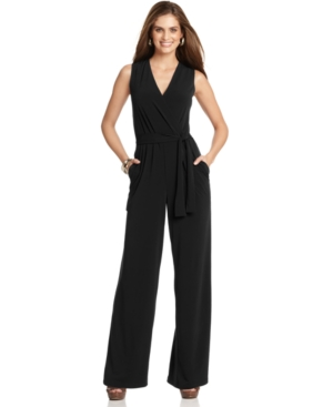 NY Collection Jumpsuit, Sleeveless Surplice Wrap Belted Wide Leg Jersey