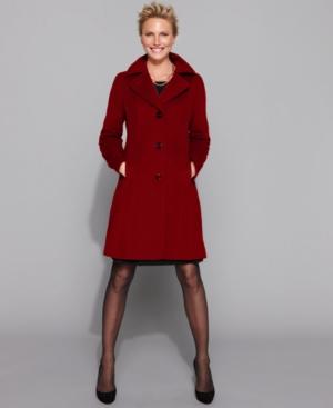 AK Anne Klein Coat, Cashmere Blend Single Breasted Seamed Walker