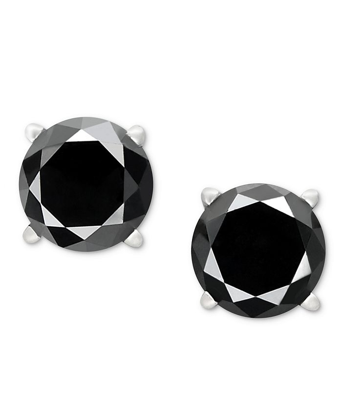 Macy's - Black Diamond Stud Earrings (1 to 2 ct. t.w.) in 14k White Gold