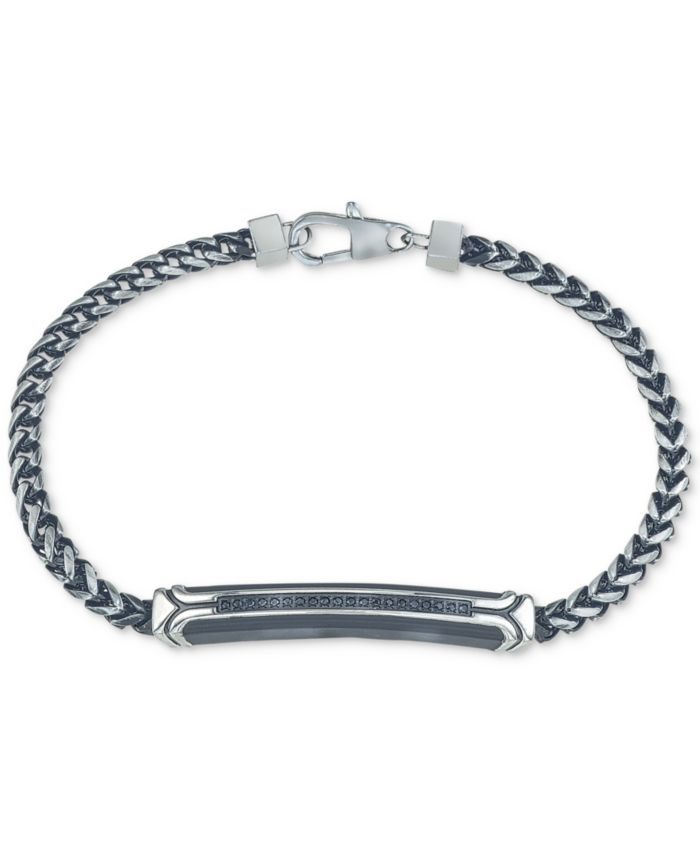 Esquire Men's Jewelry Diamond Link Bracelet (1/10 ct. t.w.) in Black or Blue Ion-Plated Stainless Steel, Created for Macy's & Reviews - Bracelets - Jewelry & Watches - Macy's