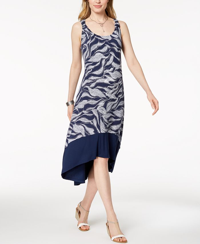 Style & Co - Printed High-Low Midi Dress