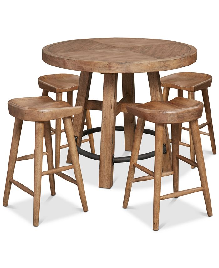 Furniture - Brewing Collection, 5-Pc.  Set (Gathering Round Table & 4 Hops Saddle Seat Gathering Stools)