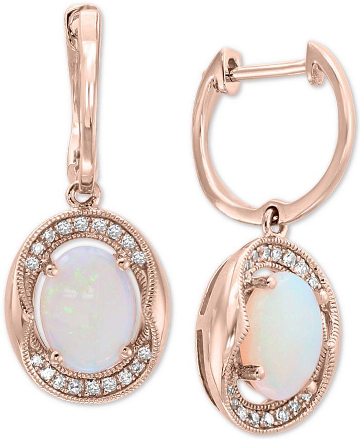 EFFY Collection - Opal (1-1/3 ct. t.w.) & Diamond (1/8 ct. t.w.) Drop Earrings in 14k Rose Gold