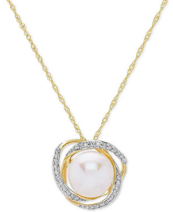 "Honora Cultured Freshwater Pearl (8mm) & Diamond (1/8 ct. t.w.) 18"" Pendant Necklace in 14k Yellow Gold or White Gold"