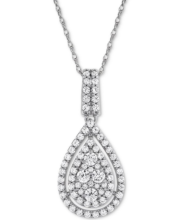 "Wrapped in Love - Diamond Pavé Teardrop 18"" Pendant Necklace (1 ct. t.w.) in 14k White Gold or 14k Yellow Gold"