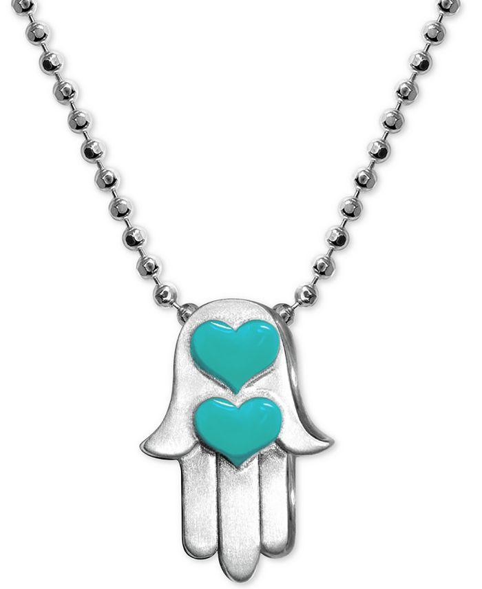 """Alex Woo - Enamel Heart Hamsa Hand 16"""" Pendant Necklace in Sterling Silver"""