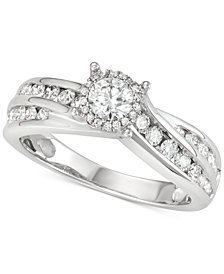 Diamond Channel-Set Swirl Engagement Ring (1 ct. t.w.) in 14k White Gold