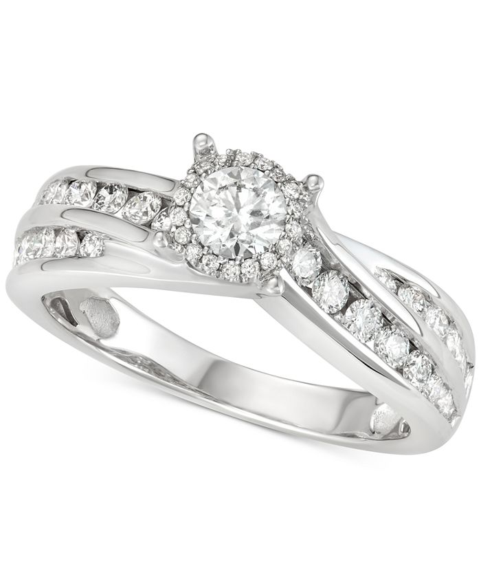 Macy's - Diamond Channel-Set Swirl Engagement Ring (1 ct. t.w.) in 14k White Gold