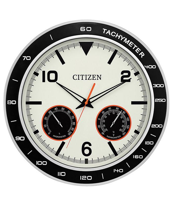 Citizen - Outdoor Black & Silver-Tone Wall Clock