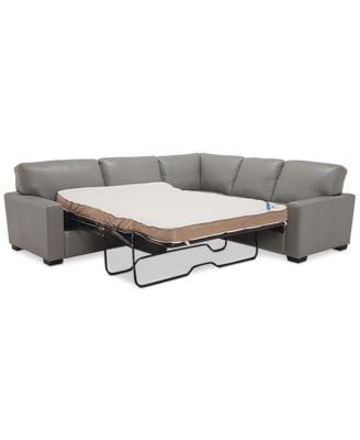 Ennia 2-Pc. Leather Full Sleeper Sectional Sofa, Created for Macy's
