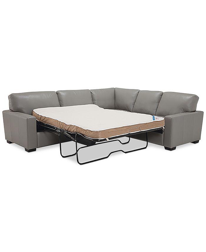 "Furniture - Ennia 2-Pc. Leather ""L""-Shaped Full Sleeper Sectional Sofa"