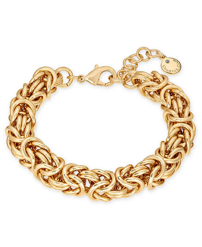 Charter Club - Gold-Tone Byzantine Link Bracelet