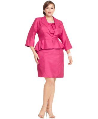 Tiana B Plus Size Dress & Jacket, Short Sleeve Beaded Sheath