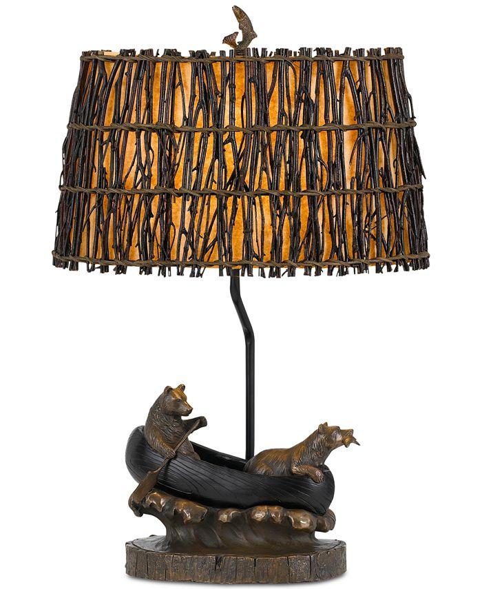 Cal Lighting - Bear in Canoe Resin Table Lamp