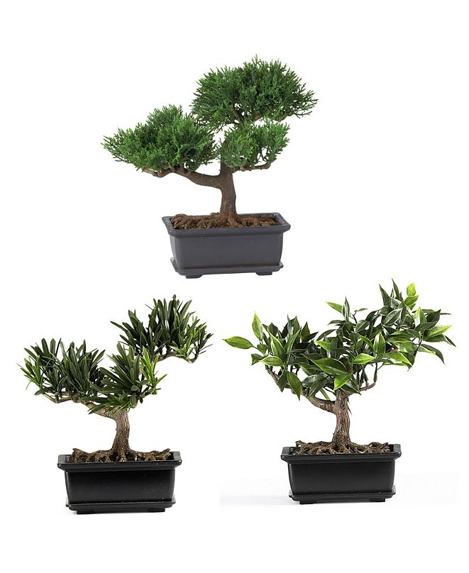 """Nearly Natural 8.5"""" Artificial Bonsai Collection, Set of 3"""
