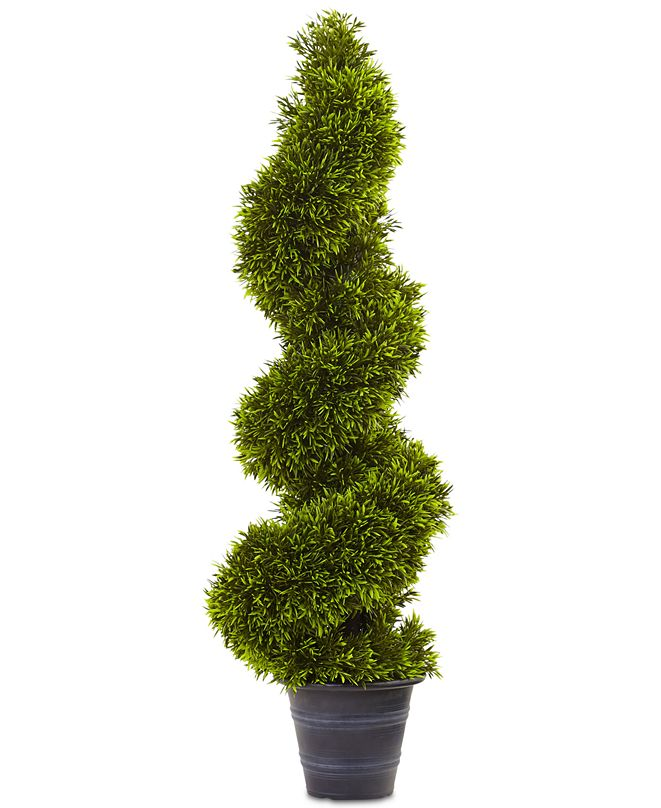 Nearly Natural 3' Artificial Grass Spiral Topiary with Decorative Planter