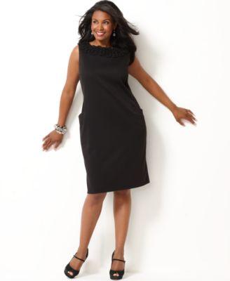 Charter Club Plus Size Dress, Sleeveless Appliqued Sheath